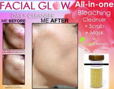FACIAL GLOW Scrub & Mask Daily Cleanser Acne Scars Skin Bleaching Soap Natural Herbal Bleach