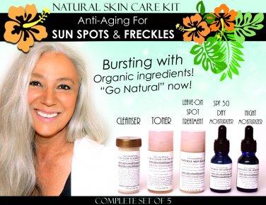 Natural Skin Care Kit Anti Aging For Sun Age Spots, Freckles, Melasma Lightening Set of 5