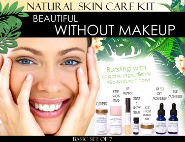 Beautiful Without Makeup Natural Skin Care Kit For Facial Features Enhancement Basic Set of 7