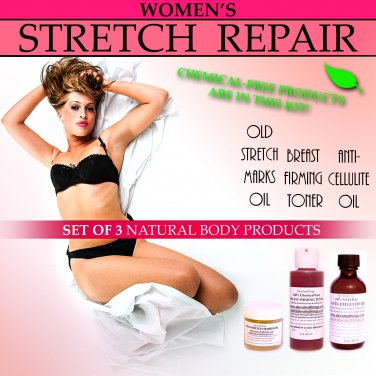 Womens Natural Stretch Repair Body Kit for Stretch Marks Sagging Breasts Cellulite Set of 3