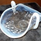 Vintage Fenton Lotus Stretch glass basket Blue White Opalescent  Bonbon