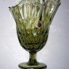 Vintage FENTON Glass Green Handkerchief Thumbprint Swung Vase