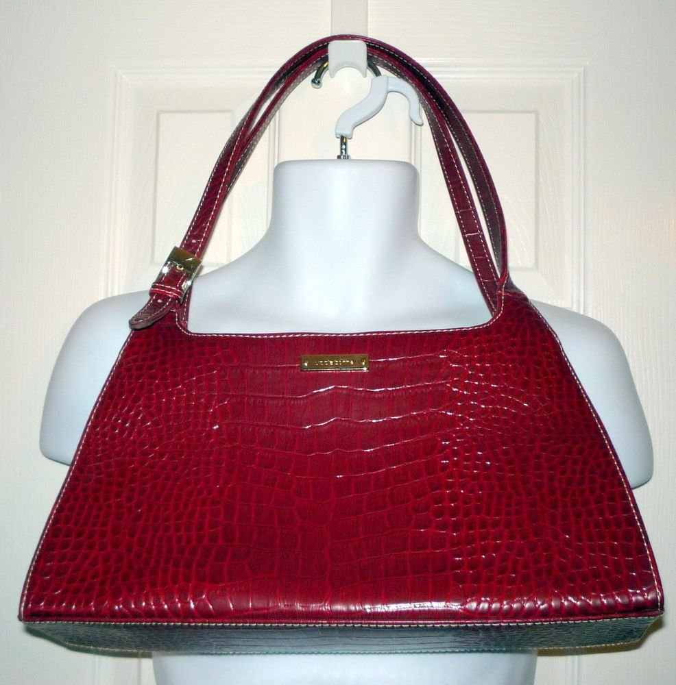 LIZ CLAIBORNE Faux Leather Red Alligator Purse Handbag Shoulder Bag