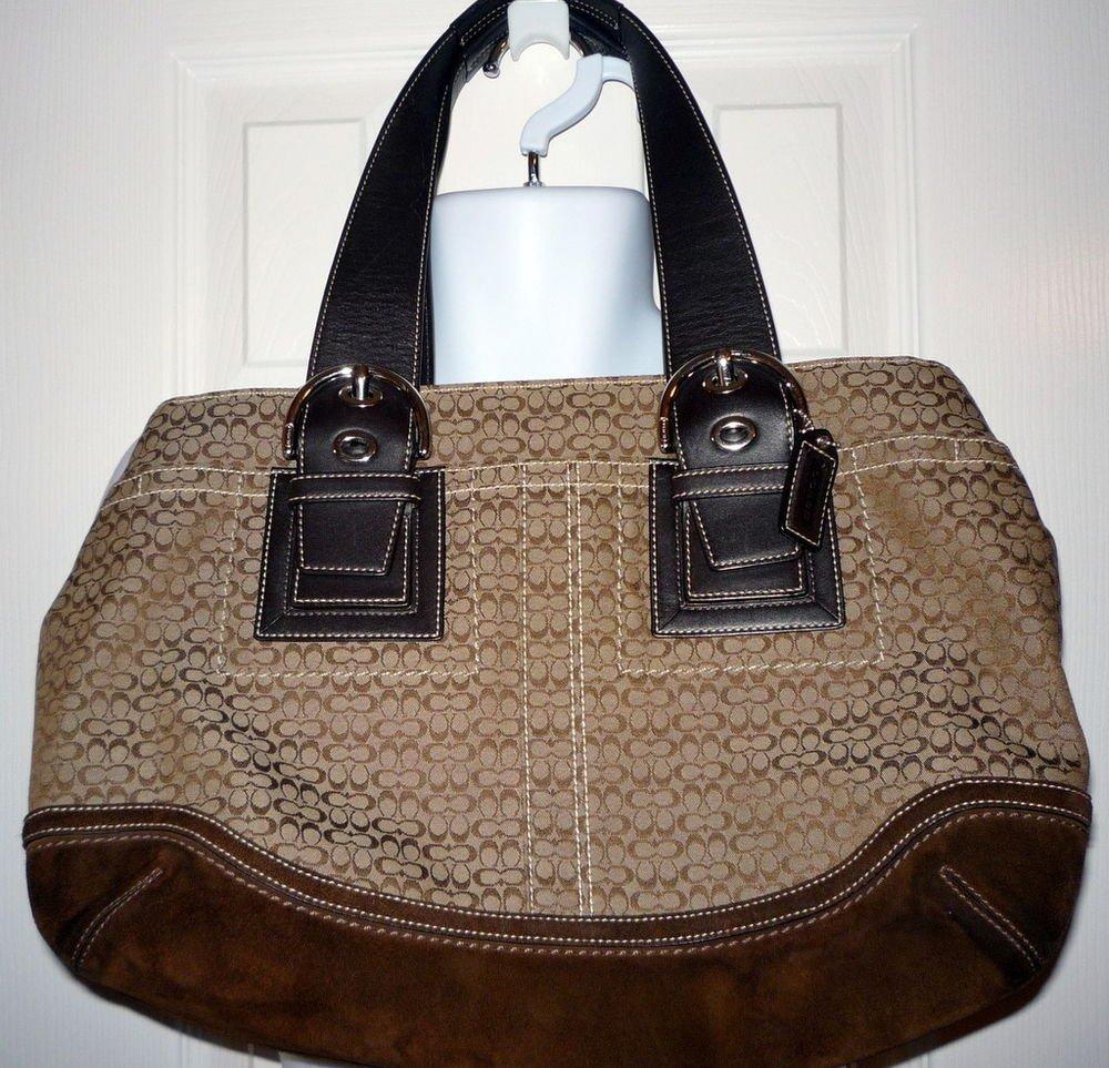 COACH F10928 Brown Tote Shoulder Bag Canvas Leather Straps