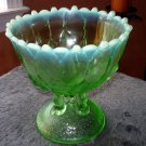 Antique NORTHWOOD Hilltop & Vines green opalescent footed compote bowl #169