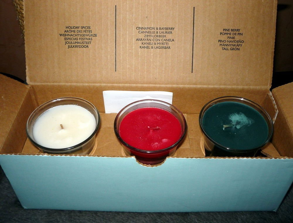 PARTYLITE Christmas 3 Candle Set HOLIDAY SPICES CINNAMON & BAYBERRY PINE BERRY
