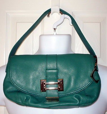 LIZ CLAIBORNE New York Jackie Demi Bag Turquoise Pebbled Leather Purse Handbag