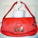 LIZ CLAIBORNE New York Jackie Demi Bag Red Pebbled Leather Purse Handbag