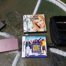 Nintendo DS Lite Metallic Rose Handheld System bundle w 2 games carry bag