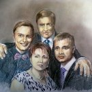 Family portrait 50x70 cm from your foto drawing with pastels and pencils on paper handmade Italy