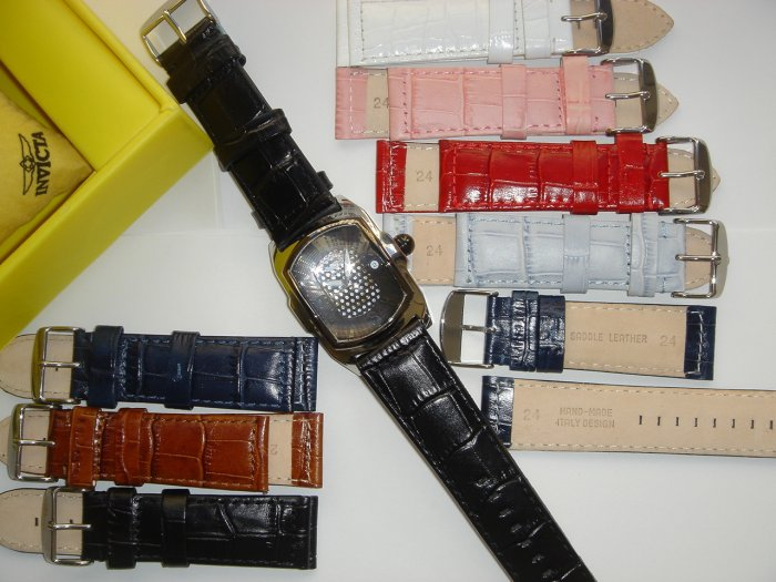 INVICTA,BREITLING 24MM LEATHER STRAP $14.99