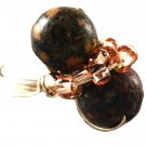 Handmade Double Brown Stone Balls and Taupe Beads Fashion Ring Silver Tone (9)