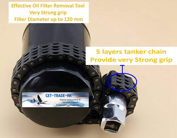 Oil filter removal tool - 5 layers chain;strong grip;removal filter up to 120 mm