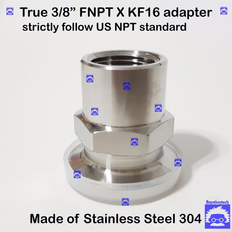 "True 3/8"" Female NPT X KF16 flange stainless steel vacuum adapter FNPT"