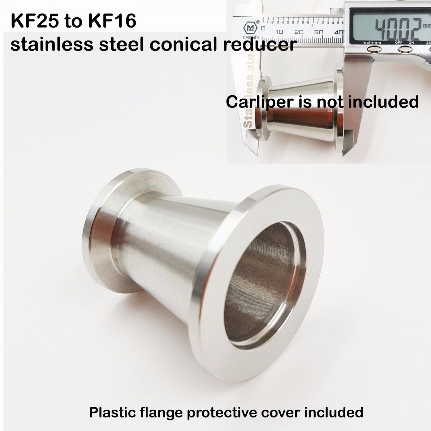 KF25 (NW25) to KF16 (NW16) Flange vacuum conical reducer, Stainless steel 304