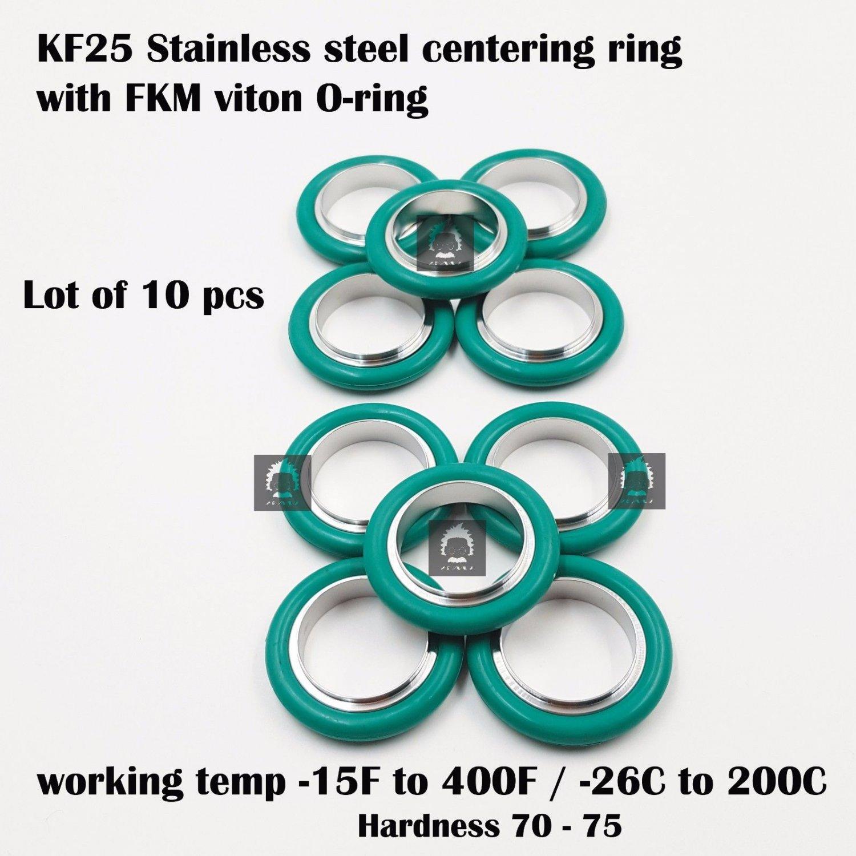 KF-25 NW-25 vacuum center Ring  made of SS304, O-ring = FKM viton (lot of 10pcs)