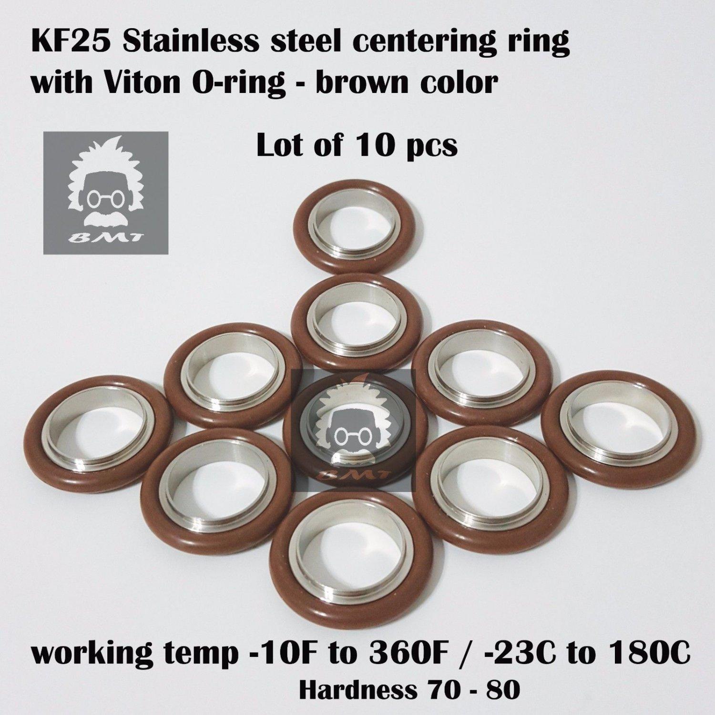 KF-25 NW-25 vacuum center Ring  made of SS304, O-ring = Viton (lot of 10pcs)