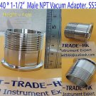"Adapter KF40 Flange to 1-1/2""  Male NPT, SS 304, vacuum fitting, MNPT"