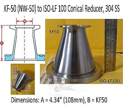 KF-50 (NW-50) to ISO-LF 100 Conical Reducer, 304 SS, Vacuum Adapter, ISO100