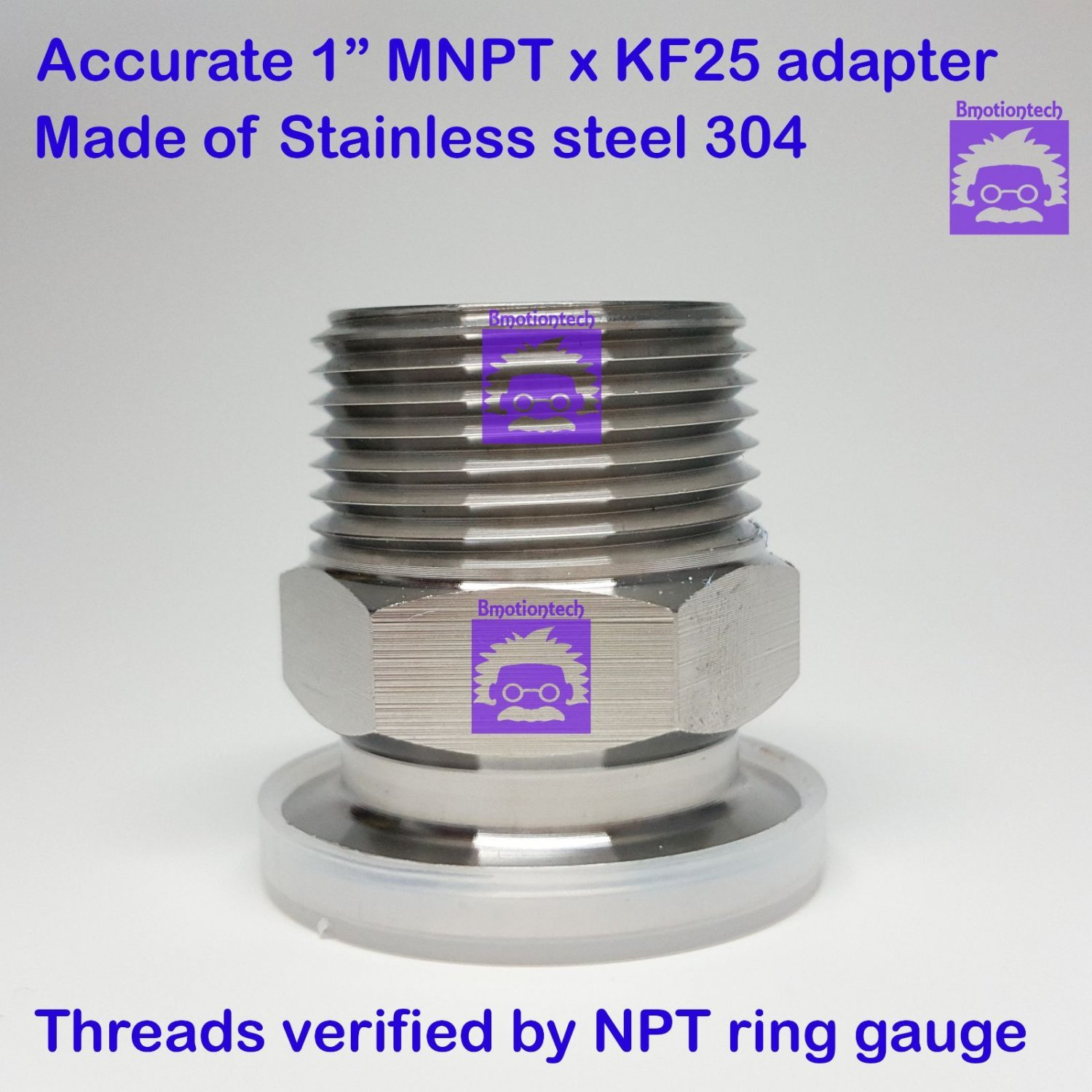 "True 1"" Male NPT X KF25 Flange Stainless Steel 304 Vacuum Adapter MNPT"