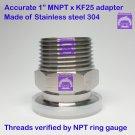 "True 1"" Male NPT X KF25 Flange Stainless Steel 304 Vacuum Adapter MNPT"