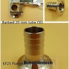 20 mm OD barbed hose X KF25 flange stainless steel vacuum adapter
