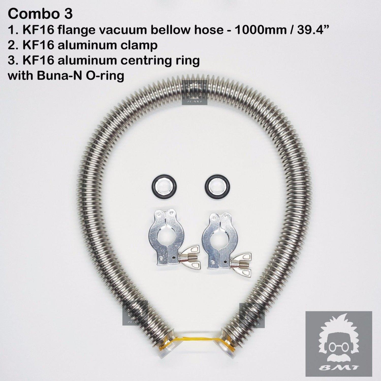 """KF16 flange vacuum bellow hose 1000 mm 39.6"""" 2 sets Al clampers  O-ring = Buna-N"""