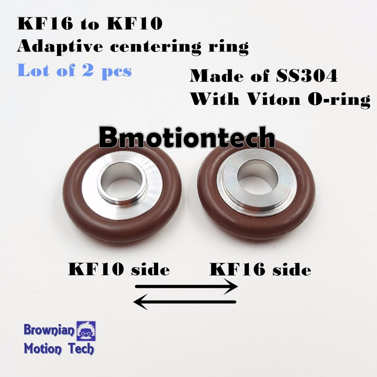Lot of 2pcs KF16 to KF10 adaptive stainless steel centering Ring w/ viton O-ring