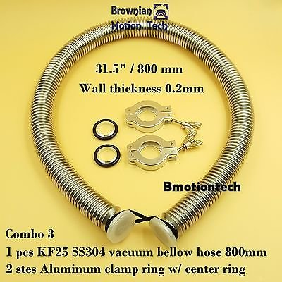 KF25 flange vacuum bellow hose 800mm SS304 with 2 sets clamper & O-ring Combo 3