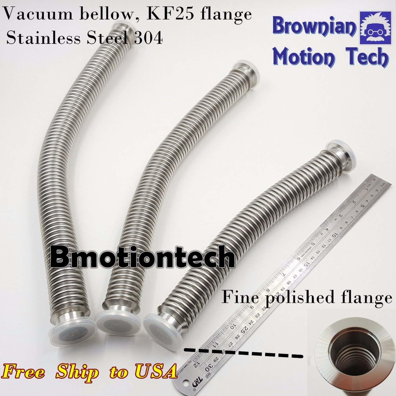 KF25 flange Stainless steel 304 vacuum flexible bellow hose wall thk = 0.2mm LNG