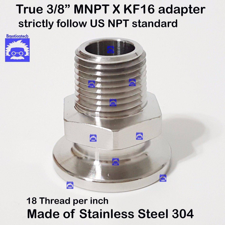 "True 3/8"" Male NPT X KF16 flange stainless steel vacuum adapter MNPT"
