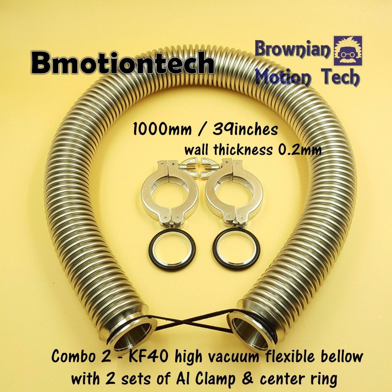 "Combo 2 KF40 Flange 1 m / 39"" high vacuum flexible bellow SS304 w/ Clamp & Cring"