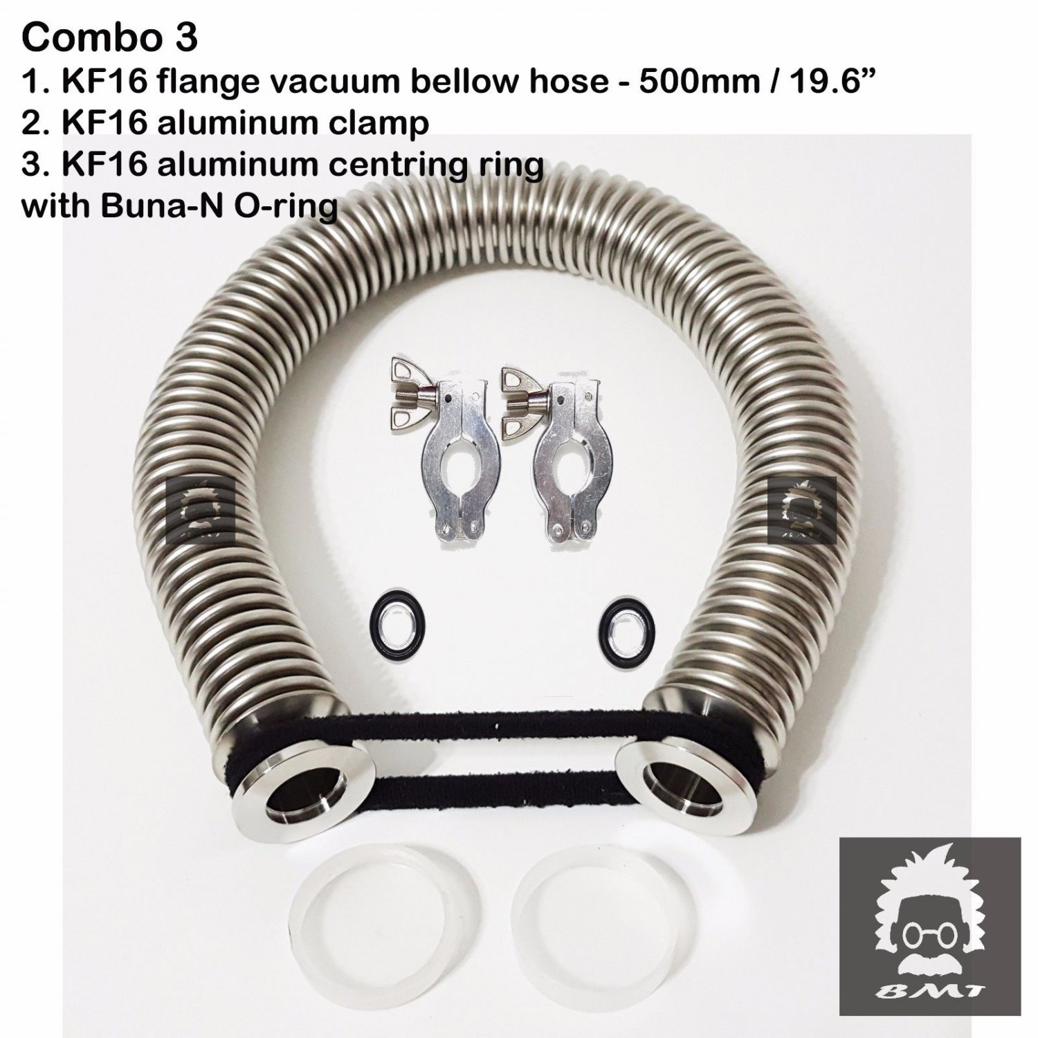 "KF16 flange vacuum bellow hose 500mm 19.6"" 2 sets Al clampers & O-ring = Buna-N"