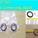 "KF-25 NW-25 Vacuum Center Ring 304 SS 1.575"" or 40mm w/ O-ring (Lot of 2 pcs)"