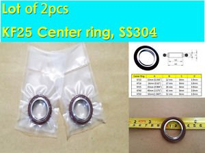 """KF-25 NW-25 Vacuum Center Ring 304 SS 1.575"""" or 40mm w/ O-ring (Lot of 2 pcs)"""
