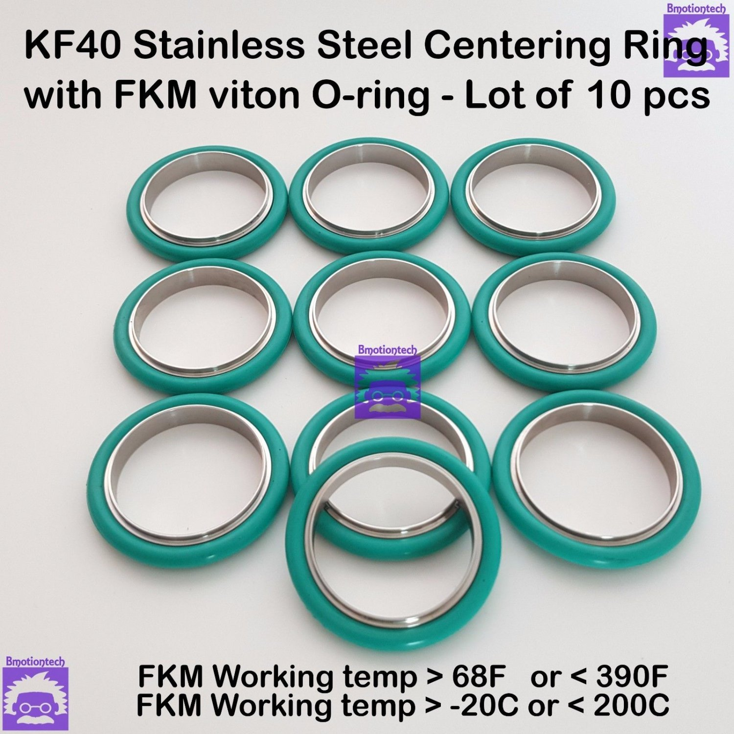 KF40 Stainless steel Vacuum centering ring with O-ring = FKM Viton (10 pcs pack)