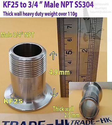 Adapter KF25 to 3/4� Male NPT, Heavy duty thick wall version, SS304 weight 110g
