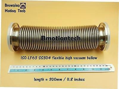 "ISO LF63 ISO-K 63 Flange, Length 12"" / 300mm  Vacuum flexible bellow hose, SS304"