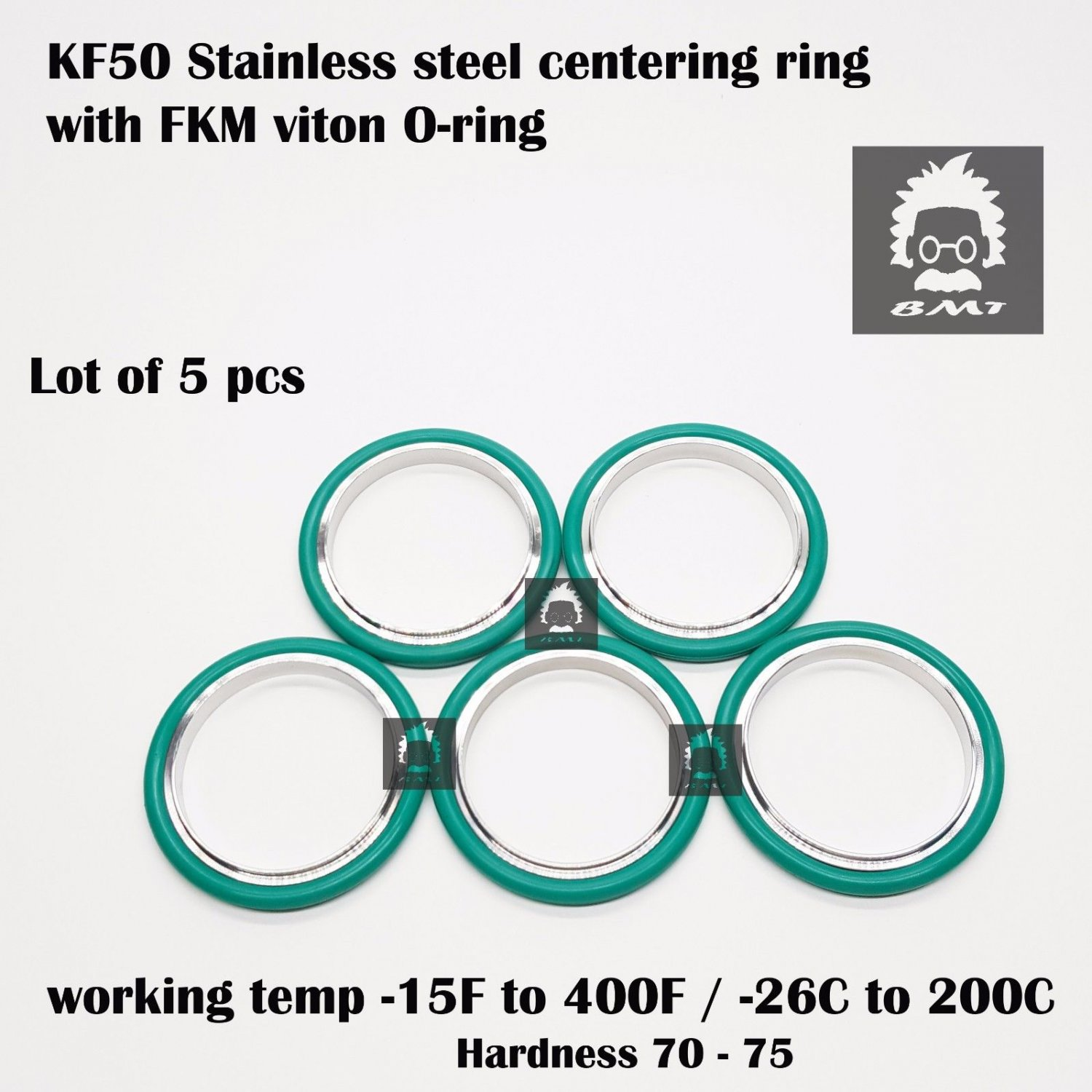 KF50 Stainless steel  vacuum Centering Ring with O-ring = FKM viton - 5pcs pack