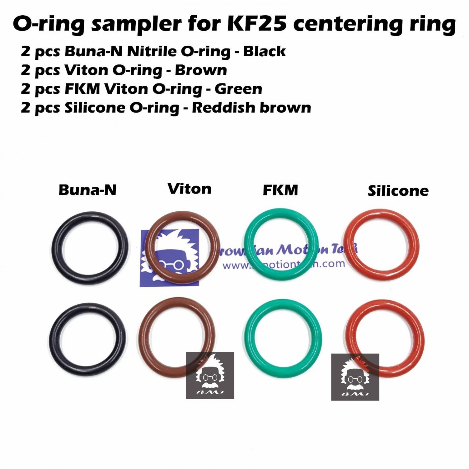 O-ring sampler for KF25 flange centering ring Buna Viton FKM Silicone 2 of each