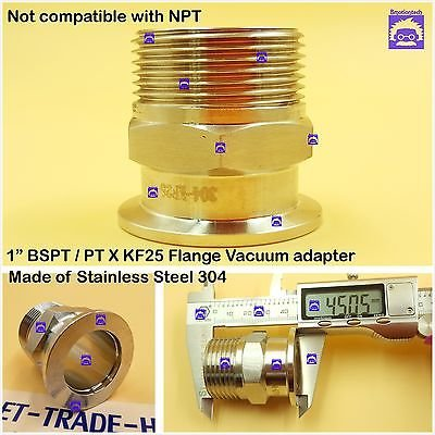 """Male BSPT 1"""" X KF25 Flange stainless steel vacuum adapter BSPT = PT Rc thread"""