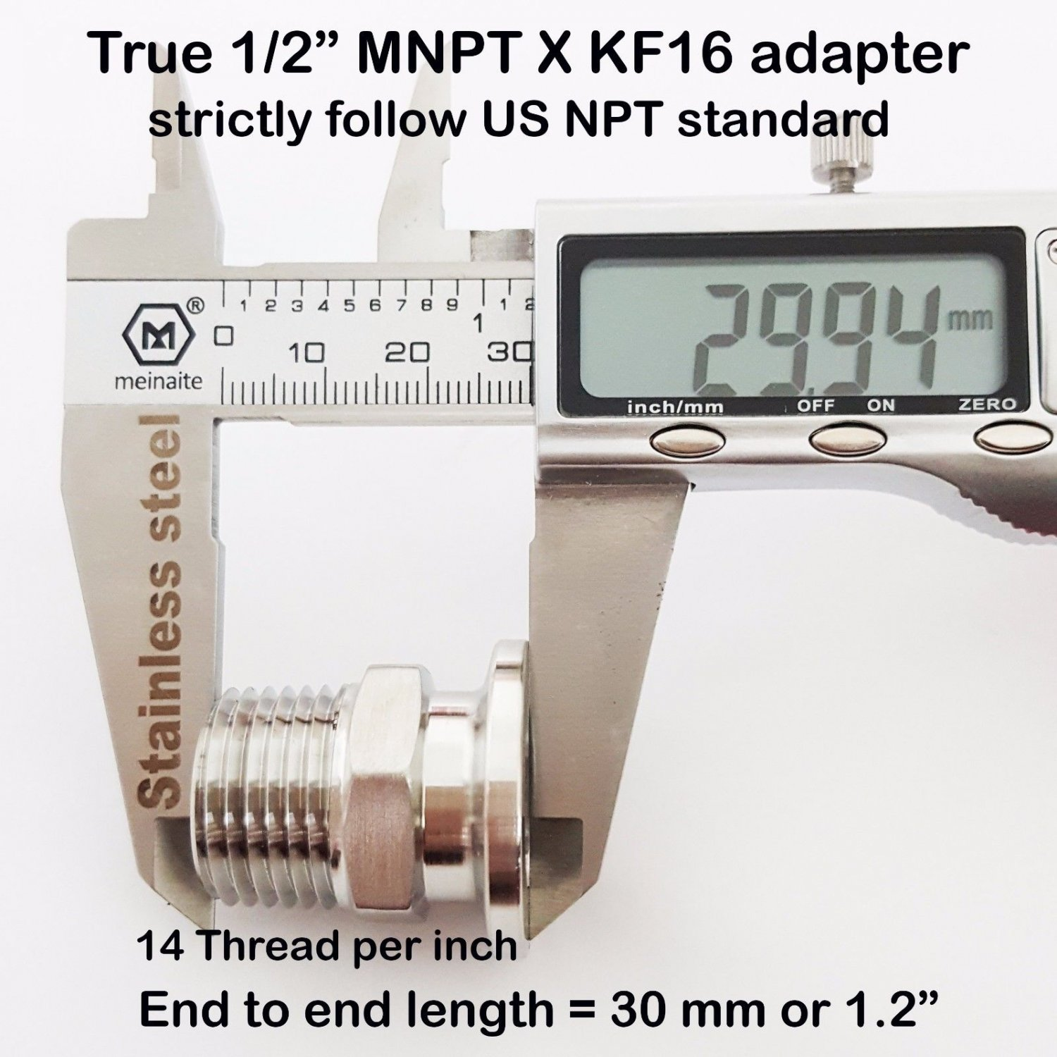"True 1/2"" Male NPT X KF16 flange stainless steel vacuum adapter MNPT"