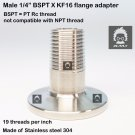 "Male BSPT 1/4""  X KF16 flange stainless steel vacuum adapter BSPT = PT Rc"