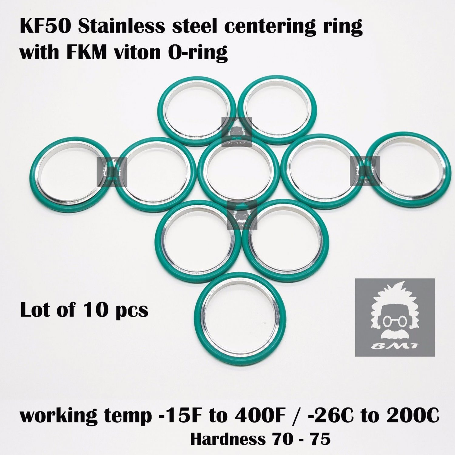 KF50 Stainless steel  vacuum Centering Ring with O-ring = FKM viton - 10pcs pack