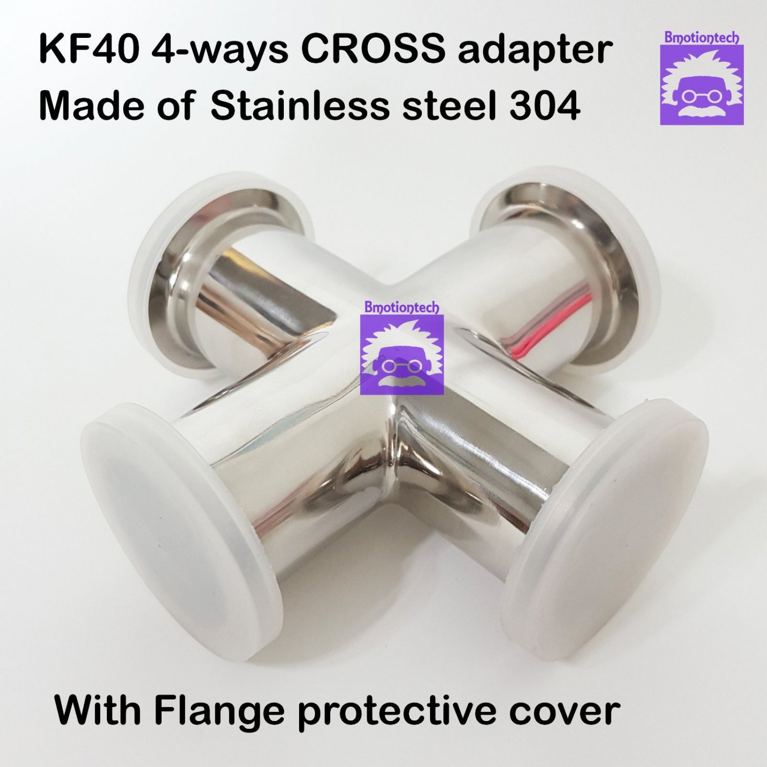 KF40 Cross 4-way stainless steel 304 vacuum adapter, all ends KF40 flange