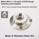 M14 x 1.25  X KF25 flange stainless steel vacuum adapter