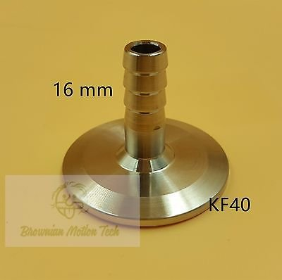 16 mm OD barbed hose X KF40 flange stainless steel vacuum adapter