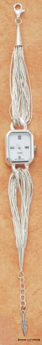 "STERLING SILVER 7-8"" ADJUSTABLE LIQUID SILVER 15 STRAND MOP FACE WATCH"