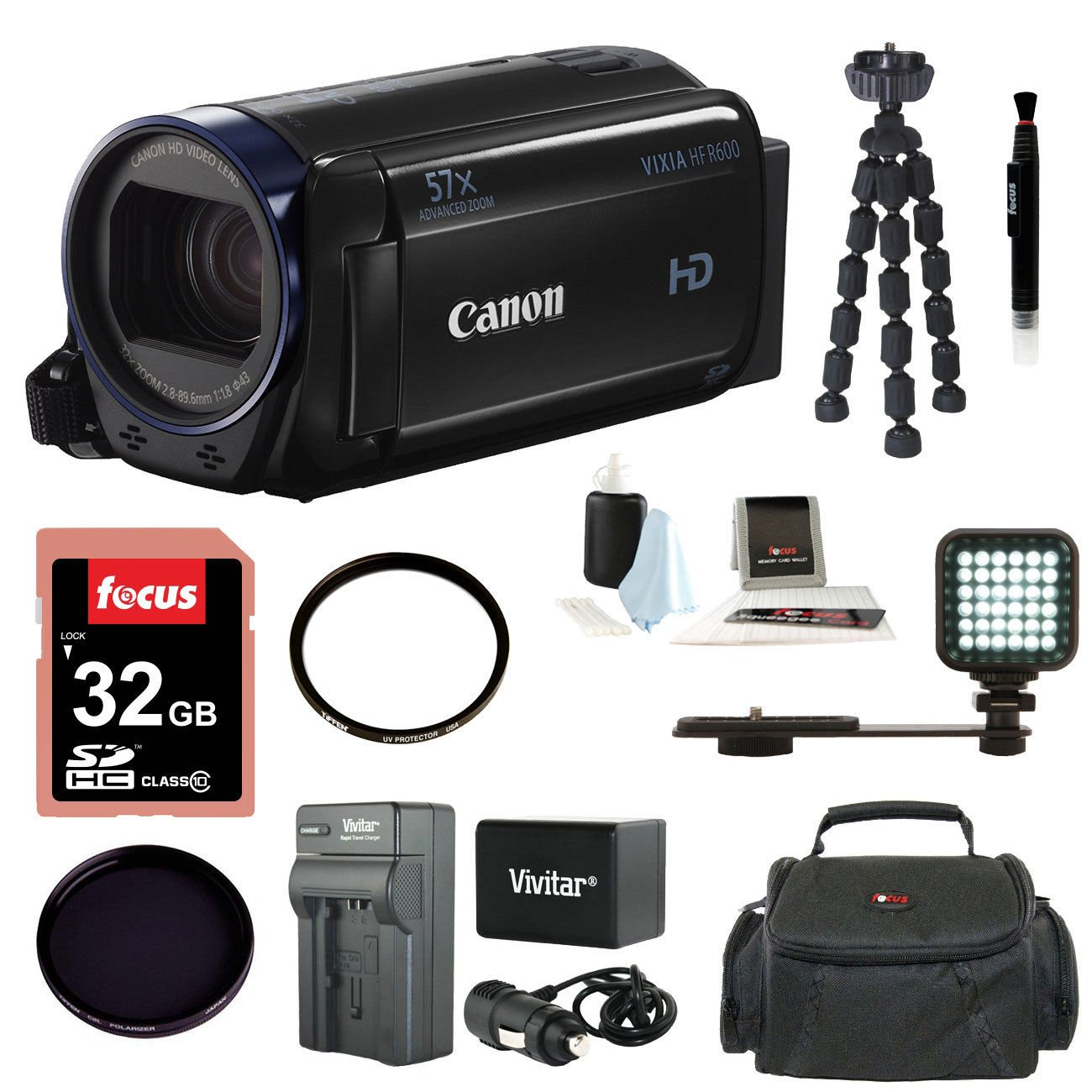 Brand New Canon Vixia HF R600 Camcorder (Black) with 64GB Deluxe Accessory Bundle