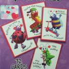 NEW BUG CHARACTER ST VALENTINE'S DAY CARD SET School Kids 32 Pcs Children's Saint Valentine Holiday